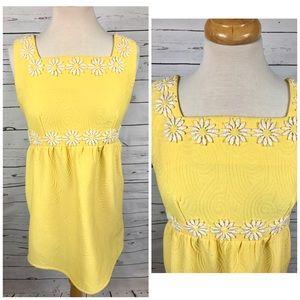 Medium vintage 60's 70's yellow daisy mini dress